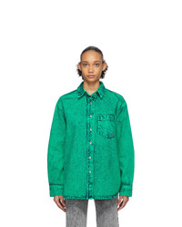 Alexander Wang Green Denim Acid Oversized Shirt