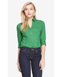 Fantastic Brand Design Women Shirt Dress Casual Loose V Neck Green Dresses Three
