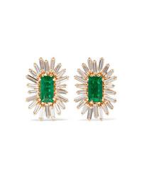 Suzanne Kalan 18 Karat Gold Emerald And Diamond Earrings