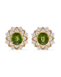 Buccellati 18 Karat Yellow And White Gold Peridot And Diamond Earrings
