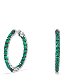David Yurman Osetra Faceted Green Onyx Hoop Earrings