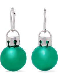 Balenciaga December Ball Silver Tone And Resin Earrings Green