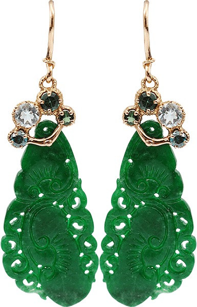 Federica Rettore One Carved Imperial Green Jade Earrings