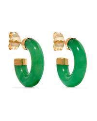 LOREN STEWART Gold Jade Hoop Earrings