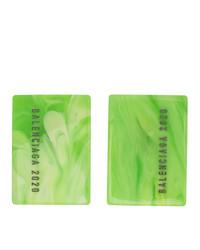 Balenciaga Green Logo Plate Earrings
