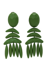 Stella McCartney Green Wood Clip Earrings