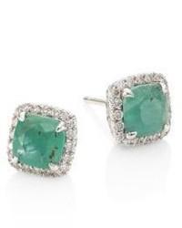 John Hardy Batu Classic Chain Diamond Emerald Sterling Silver Stud Earrings