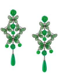 Lydia Courteille Butterfly And Rose Diamond Tear Drop Earrings
