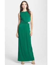 Embellished waist drape back jersey gown medium 1249065