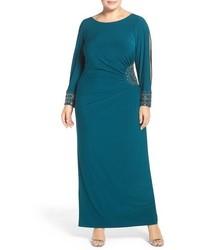 Plus size xscape embellished stretch jersey long dress medium 963850