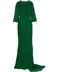Crystal embellished corded lace gown emerald medium 954360