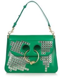 Green Embellished Leather Crossbody Bag