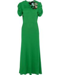 Miu Miu Embellished Crepe Midi Dress Green