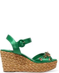Dolce & Gabbana Embellished Satin Wedge Sandals Green