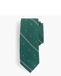 J.Crew Silk Tie In Stripe With Embroidered Magpies
