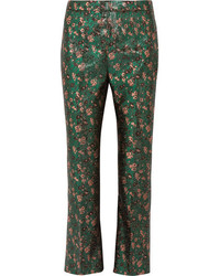 Prada Metallic Floral Jacquard Flared Pants Green