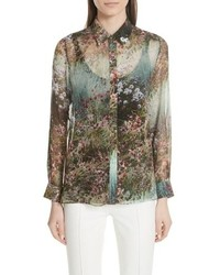 Green Floral Dress Shirt