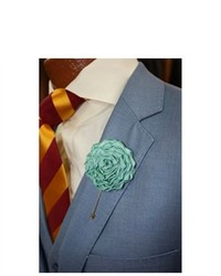Dapper World Nile Green Solid Flower Lapel Pin