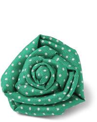 Charvet Polka Dot Print Silk Lapel Flower