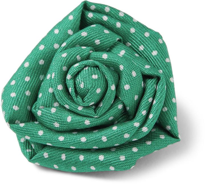 Charvet polka dot print silk lapel flower where to buy how to wear charvet polka dot print silk lapel flower mightylinksfo
