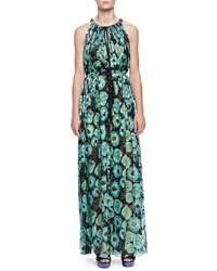 Lanvin Floral Print Tassel Drawstring Neck Maxi Dress