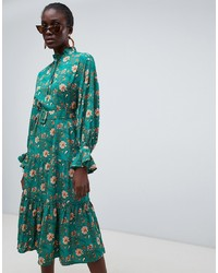 Vero Moda Green Floral Prairie Midi Dress With Belt