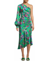 Etro One Sleeve Shirred Floral Print Hammered Silk Midi Dress