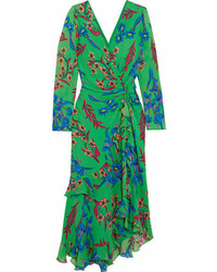 Etro Twist Back Ruffled Asymmetric Floral Print Silk Crepon Midi Dress Green
