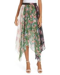 AMU R Mica Floral Print Asymmetrical Skirt