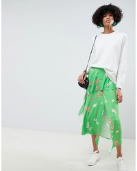 ASOS DESIGN Slinky Floral Print Midi Tea Skirt With Frill