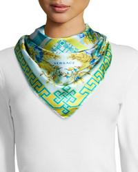 Versace Floral Checkerboard Silk Scarf Bluegreen