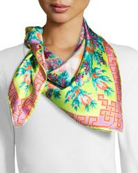 Versace Floral Checkerboard Silk Scarf Lime Greenmulti