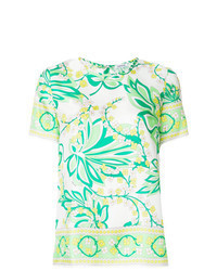 Green Floral Short Sleeve Blouse