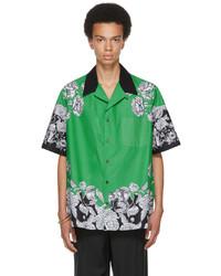 Valentino Green Black Dark Blooming Short Sleeve Shirt