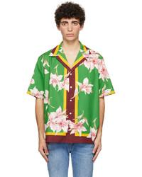 Valentino Green Flower Bowling Short Sleeve Shirt