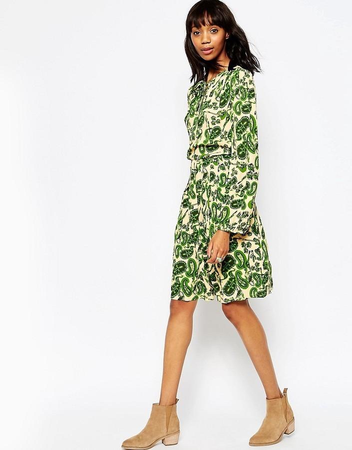 5933a41f6323 ... Green Floral Skater Dresses Ivana Helsinki Floral Long Sleeve Skater  Dress ...