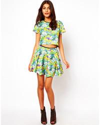 Green Floral Skater Skirt