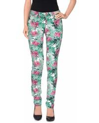Green Floral Skinny Pants