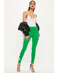 Missguided Green Embroidered Stirrup Leggings