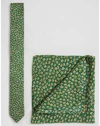 Asos Brand Wedding Floral Tie And Pocket Square Pack Save 21%