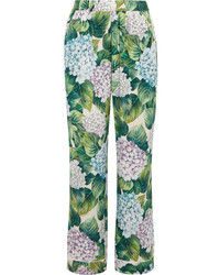 Green Floral Wide Leg Pants