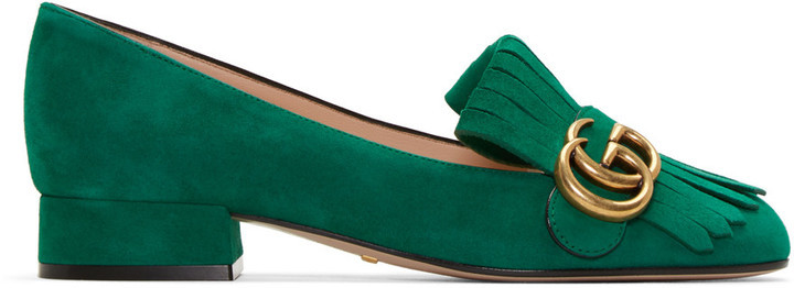 f9d56aea98e ... Gucci Green Fringe Marmont Loafer ...