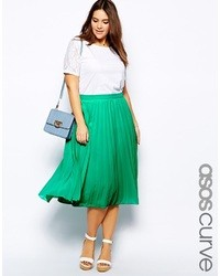 Asos curve curve midi skirt with pleats navy medium 37895