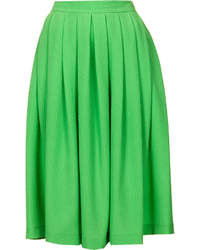Topshop Bright Green Seersucker Full Midi Skirt With Zip Fastening At The Back 61% Viscose39% Polyester Machine Washable