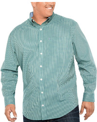Izod Long Sleeve Gingham Button Front Shirt Big And Tall