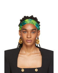 Versace Green And Blue Tropic Print Headband