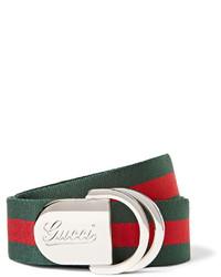 Green Horizontal Striped Canvas Belt