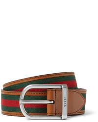 Gucci 3cm Striped Webbed Leather Belt