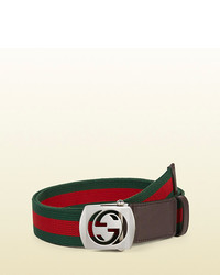 Gucci Canvas Belt With Cut Out Interlocking G Buckle