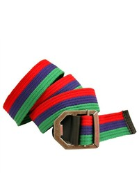 Luxury Divas Red Blue Green Striped Canvas Viper Buckle Belt